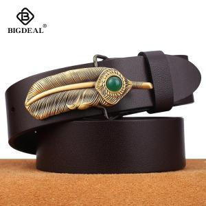 BIGDEAL Genuine Leather Men Belts 3.8cm Width Cowskin Leather Belt For Men Business Male Belts Strap Husband Gifts