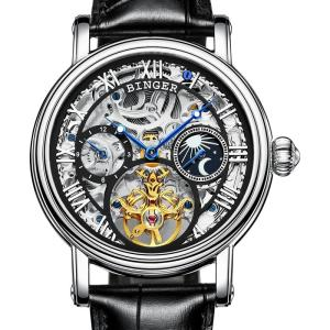 Big Dial Automatic watches men luxury brand BINGER Mechanical Watch men tourbillon Leather Strap Moon phase Sapphire Waterproof