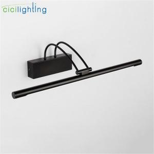 AC110-240V L45/55/65/75cm LED Front Mirror Lamp Black Metal Vanity Lights 9/12/14/16W led Bathroom Toilet Wall Lighting Fixture
