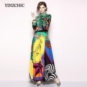 Street Woman Summer Fall Maxi Dress Full Sleeve Female Long Party Dresses 2018 Colors Printed Woman Polyester Dress Cheap Price