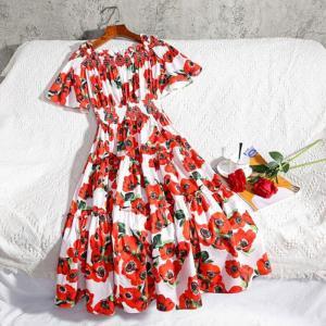 New 2020 Runway Designer Flower Summer Dress Women's Cold Cut Out Shoulder Slash Neck Red Rose Floral Print Sundress Party Dress