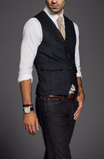 New Arrival Designs Black Tweed Men Vest Fashion Slim Fit Waistcoat Custom Made Vests Groom Prom Dinner Waistcoats Terno Colete
