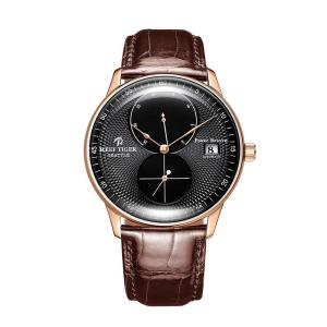 Reef Tiger/RT Top Brand Luxury Casual Watches Mens Rose Gold Watch Genuine Leather Strap Waterproof Automatic Watch RGA82B0