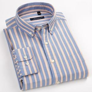 Men's Stylish Striped 100% Cotton Oxford Long Sleeve Shirt with Chest Pocket Standard-fit Smart Casual Button Down Thick  Shirts