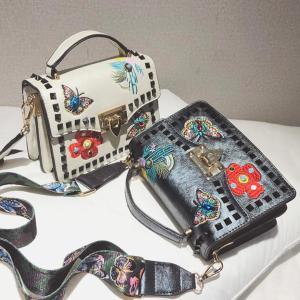 2018 Vintage Fashion PU Leather Handbags Women's Designer Handbag Embroidered Flower Rivet Tote bag Lady Shoulder Messenger Bag