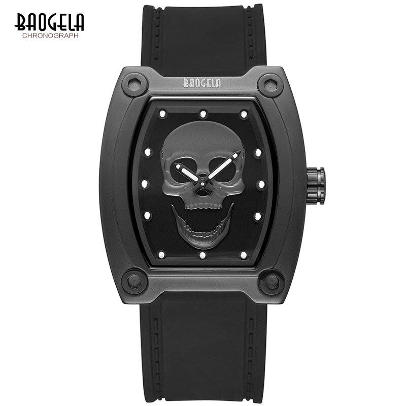 BAOGELA 2018 New Sports Quartz Skeleton Watches Men Silicone Band Luminous Skull Wristwatch Man Relogios Masculino 1810 BLACK
