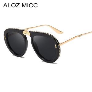 ALOZ MICC 2019 New Women Foldable Frame Pilot Sunglasses for Women Brand Designe Luxury Rhinestone Sun Glasses Female Shade Q109
