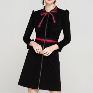 YIGELILA Fashion Women Black Sheath Dress Autumn Elegant Bow O-neck Full Sleeve Zipper Knee Length Empire Slim Party Dress 64115
