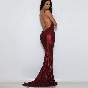 Shiny Burgundy Sequin Deep V Neck Padded Party Dress Open Back Floor Length Full Lining Stretch Dress Long Mermaid Dress