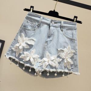 Plus Size 3XL 4XL 5XL Denim Shorts for Women Summer Embroidery Beading Shorts Jeans Female Hole Sexy Washed Jeans Shorts R719