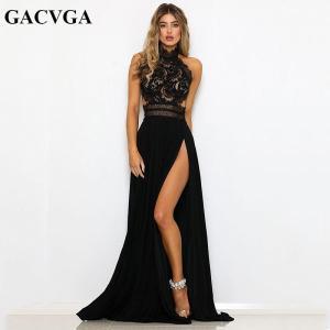 GACVGA Sexy Women Sleeveless Summer Dress Halter Neck Lace Crochet Evening Maxi Long Dress Backless Party Dresses Vestido