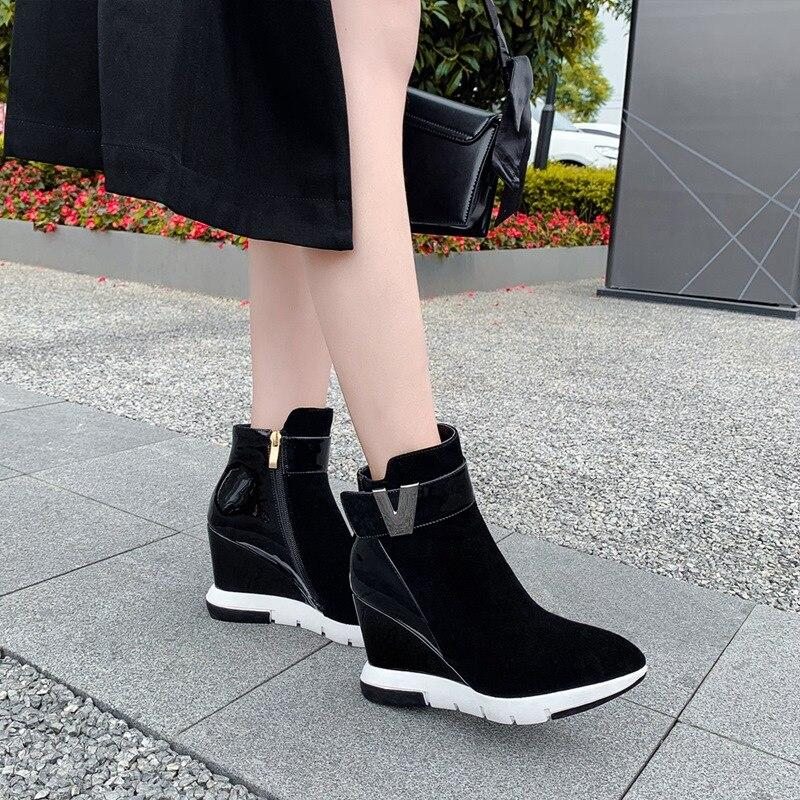 ZVQ woman shoes winter warm new fashion pointed toe zip ankle boots outside super high heels platform ladies shoes drop shipping