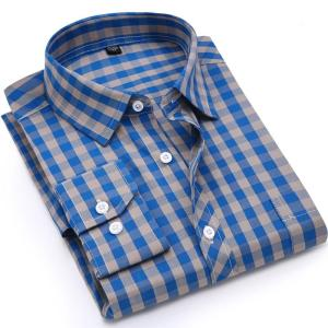 Men Plaid Shirt 100% Cotton Spring Autumn Casual Long Sleeve Shirt Soft Comfort Slim Fit Styles Brand Man Clothes