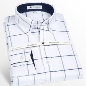 Men's Long Sleeve Thick Cotton Oxford Plaid Shirt with Front Pocket High-quality Smart Casual Standard-fit Button-down Shirts