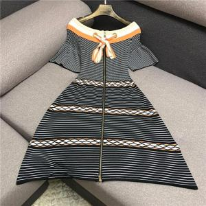 Luxury Designer Brand Knitted Dress for Women Slash Neck Striped Color Matching A Line Knitted Dress
