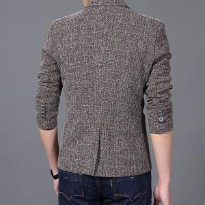 Dropshipping Tweed men wedding suit British style Mens tailored Custom Made brown Herringbone Blazers button fashion top coat