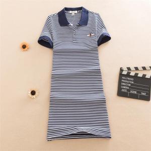 Embroidery 2020 Fashion Slim Striped Print Polo Party T Shirt Mini Short Dress Casual Summer Women Cotton Tshirt Vestidos