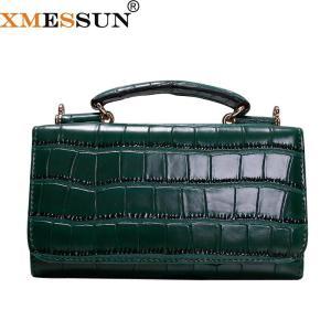 Women Cowhide Leather Clutch Bags Green Crocodile Pattern Handbag Women Shoulder Cross-body Bag Bolsas Wristlet Party Wallets