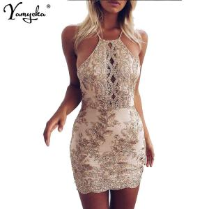 Sexy Chic Embroidery Summer Dress women Celebrity Bodycon Strap Sundress Halter Hollow Lace Night Club Party Dresses New Arrival