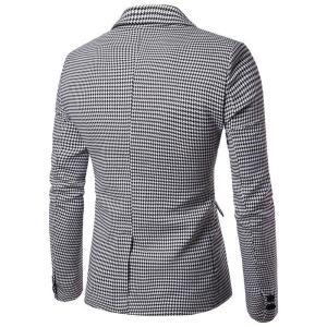 Fashion Plaid Men Blazer Modern Two Button Wedding Dress Coat Formal Slim Fit Veste Costume Business Men Casual Suit Jacket