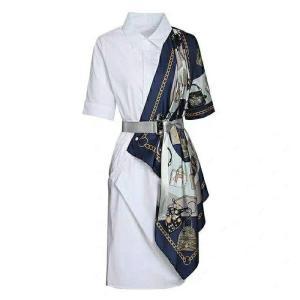 PERHAPS U print shirt dress patchwork sash knee length short sleeve turn down collar D1030
