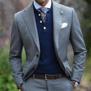 Fashion notch lapel gray fashion men wedding suits jacket custom made groom mens suits two pieces slim fit tuxedos for business