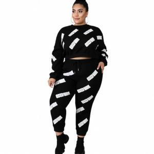 L-5XL Plus Size Letters Print 2 Piece Set Women Long Sleeve Crop Tops And Pants Suit Autumn Fashion Streetswear Outfits Big Size