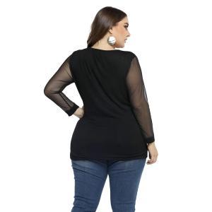 L-6XL Ladies Black Tshirt Plus Size Shirt Women Sexy Top Long Sleeve Mesh Tee shirt Elegant haut femme Streetwear mujer D30