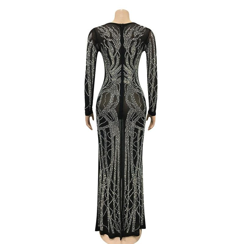 Beyprern Gorgeous Crystal Gown For Womens Beautiful Deep V Neck Mesh Patchwork Sequin Maxi Dress Special Occasion Outfits 2021
