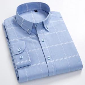 Men's 100% Cotton Long Sleeves Shirt Big Plaid Turn-Down Button Collar Shirt High Quality Stripes Casual Shirts Plus Size S-8XL