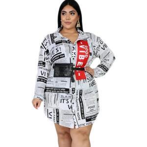 Large Size Dress Autumn Womens Shirt Dress Long Sleeve Turn-down Collar Casual Dresses Streetwear Wholesale Dropshipping