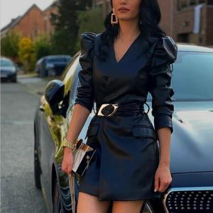 Women's Dress Black V-neck PU Bandage Faux Leather Jacket-Dresses With Belt Female Autumn Winter Streetwear Ladies Mini Vestido