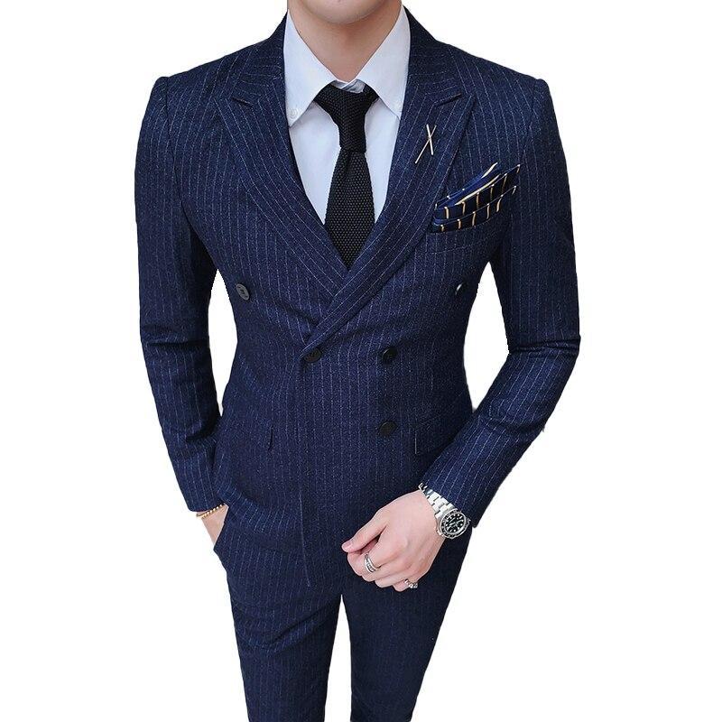 ( 1 Pcs Jacket ) Mens Fashion Boutique Casual Business Striped Suit Coat Groom Wedding Dress Men Blue Black Gray Formal Blazer