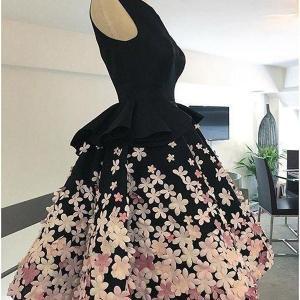 Little Black Satin Black Cocktail Dresses with Colorful 3D Appliques Flowers Short Knee Length A Line Short Cocktail Party Dress