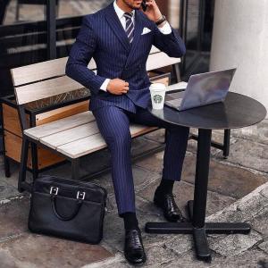Fashion Blue Stripe Groom Tuxedos Double-Breasted Groomsmen Wedding Tuxedos Excellent Men Formal Blazer Prom Jacket Suit