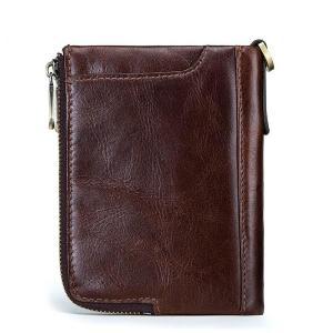 CARTELO leather men's wallet, multi-card position multi-function double zipper vertical wallet, fashion casual coin purse