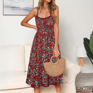 Sexy Spaghetti Strap Backless Summer Dress Women Elegant 2020 Sundress Floral Print Wrap Midi Dresses For Women Vestidos