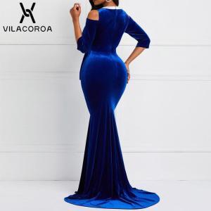 Spring Blue Gold Velvet Dress Women O-Neck Midi Sleeve Black Large Size Long Bodycon Mermaid Dress Sexy Party Night Woman Dress