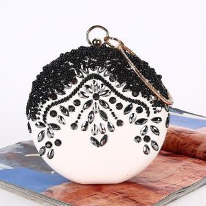 Women Clutch Bag Luxury Sequin  White Wedding Party Round Purse Handbag Rhinestone Contrast Color Stitching Glitter Evening Bag