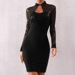 Adyce 2019 New Winter Long Sleeve Bodycon Bandage Dress Women Sexy Black Sequin Lace Club Celebrity Evening Party Dress Vestidos