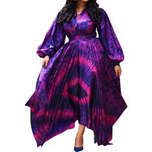 Hot Style Lantern Sleeve Women Plus Size Printing Loose Dress Autumn Lady's High Waist Sashes Deep V-neck Irregular Dresses