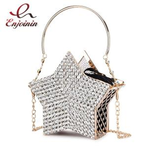Luxury Diamond Silver Star Design Evening Clutch Bag for Women New Hollow Out Small Metal Cage Ladies Chain Purses and Handbags