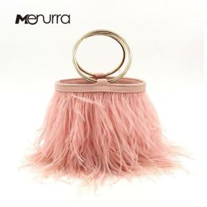 Luxury Real Ostrich Feathers bucket bag Handbag Evening Bags Women's Pink Green Diamond Clutch Party Messenger Bag For Ladies