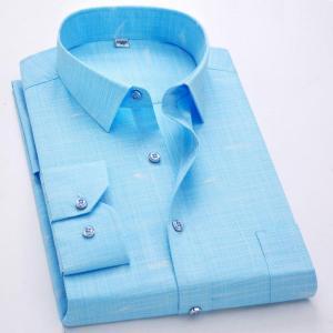 Men's Shirts Long Sleeves Casual Shirts 100% Cotton Male Turn-Down New Fashion Designer Comfortable Iron-Free Fabric Shirt