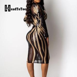 Glitter Mock Neck Long Sleeve Sequins Bodycon Dress Women Colorblock Sexy Skinny Party Dress