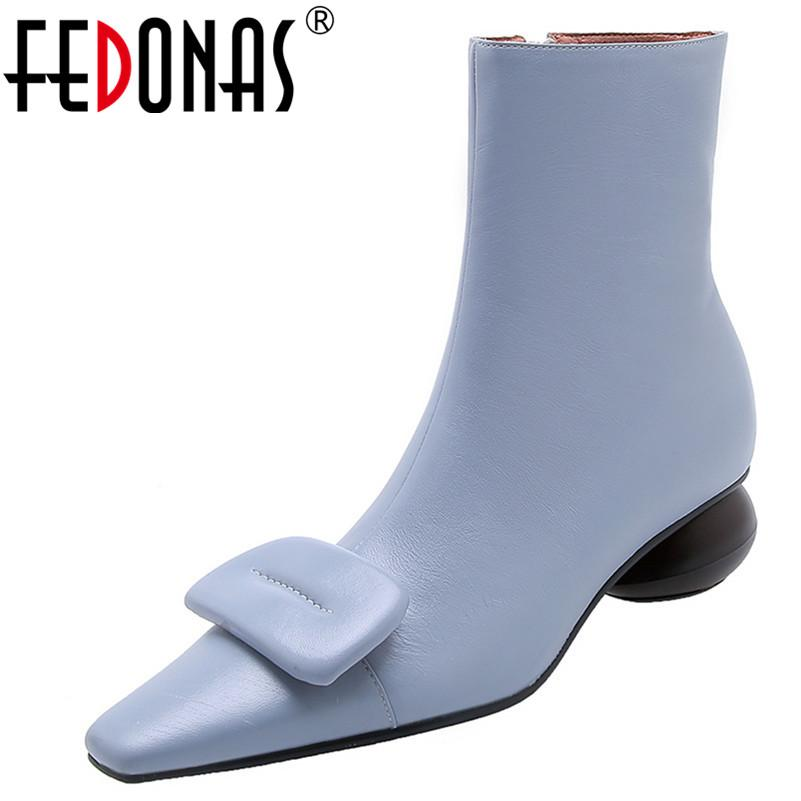 FEDONAS Sexy Women Square Buckle Ankle Boots Winter Comfortable SheepSkin Chelsea Boots Zipper Strange Heels Prom Shoes Woman