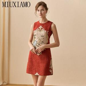 MIUXIMAO High Quality 2020  Spring  Dress Newest Fashion Sleeveless Flower Diamonds Above Knee Tank Red Dress Women Vestidos
