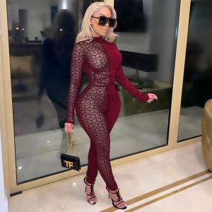 Sexy Night Party Club Jumpsuits for Women Overalls Patchwork Long Sleeve Plaid Sheer Mesh Bodycon Rompers Womens Jumpsuit Body