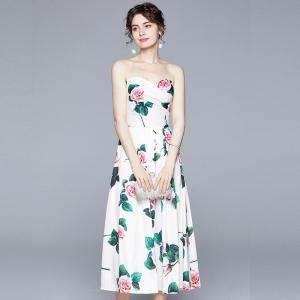 Banulin Summer Sexy Strapless Floral Printed Midi Dresses For Women Runway Designer Elegant Party Dress zomerjurk dames 2020