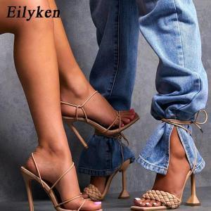 Eilyken Women Sandals Hollow Cross-Tied Weave Shoes Fashion Cozy Leather Peep Toe Ankle Strap Ladies Strange Heels Pumps